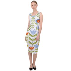 Seamless Pattern With Various Flowers Leaves Folk Motif Sleeveless Pencil Dress