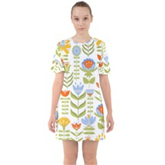 Seamless Pattern With Various Flowers Leaves Folk Motif Sixties Short Sleeve Mini Dress