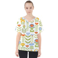 Seamless Pattern With Various Flowers Leaves Folk Motif V-neck Dolman Drape Top