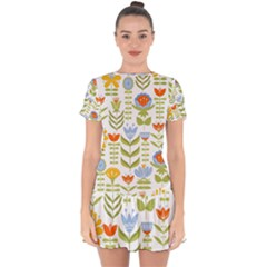 Seamless Pattern With Various Flowers Leaves Folk Motif Drop Hem Mini Chiffon Dress
