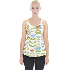 Seamless Pattern With Various Flowers Leaves Folk Motif Piece Up Tank Top
