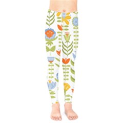 Seamless Pattern With Various Flowers Leaves Folk Motif Kids  Leggings