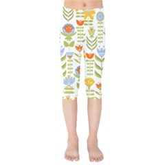 Seamless Pattern With Various Flowers Leaves Folk Motif Kids  Capri Leggings