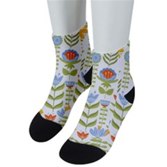Seamless Pattern With Various Flowers Leaves Folk Motif Men s Low Cut Socks