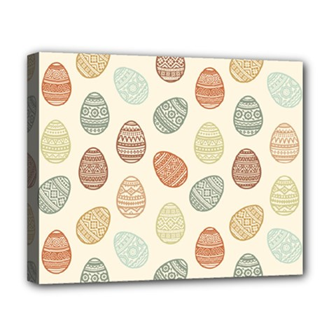Seamless Pattern Colorful Easter Egg Flat Icons Painted Traditional Style Deluxe Canvas 20  X 16  (stretched) by BangZart