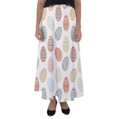 Seamless Pattern Colorful Easter Egg Flat Icons Painted Traditional Style Flared Maxi Skirt