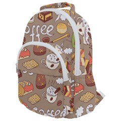 Vector Seamless Pattern With Doodle Coffee Equipment Rounded Multi Pocket Backpack by BangZart