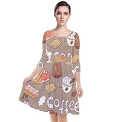 Vector Seamless Pattern With Doodle Coffee Equipment Quarter Sleeve Waist Band Dress