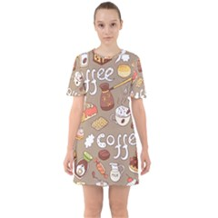 Vector Seamless Pattern With Doodle Coffee Equipment Sixties Short Sleeve Mini Dress