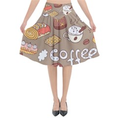 Vector Seamless Pattern With Doodle Coffee Equipment Flared Midi Skirt
