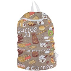 Vector Seamless Pattern With Doodle Coffee Equipment Foldable Lightweight Backpack by BangZart