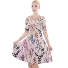 Watercolor Floral Seamless Pattern Quarter Sleeve A-line Dress