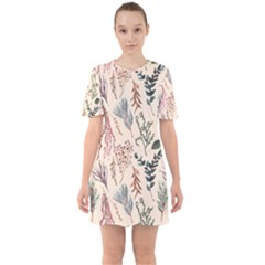 Watercolor Floral Seamless Pattern Sixties Short Sleeve Mini Dress