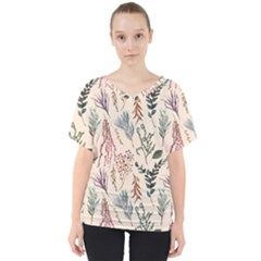 Watercolor Floral Seamless Pattern V-neck Dolman Drape Top