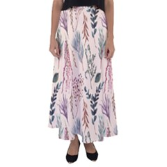 Watercolor Floral Seamless Pattern Flared Maxi Skirt