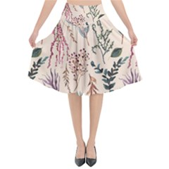 Watercolor Floral Seamless Pattern Flared Midi Skirt