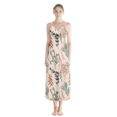 Watercolor Floral Seamless Pattern Button Up Chiffon Maxi Dress