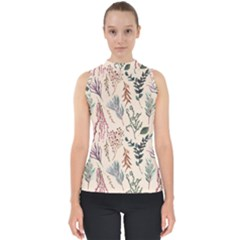 Watercolor Floral Seamless Pattern Mock Neck Shell Top