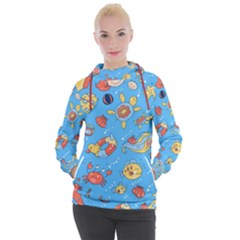 Hand Drawn Seamless Pattern Summer Time Women s Hooded Pullover