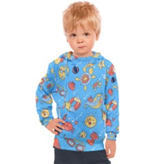 Hand Drawn Seamless Pattern Summer Time Kids  Hooded Pullover