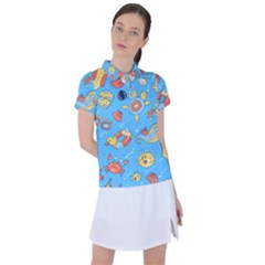 Hand Drawn Seamless Pattern Summer Time Women s Polo Tee