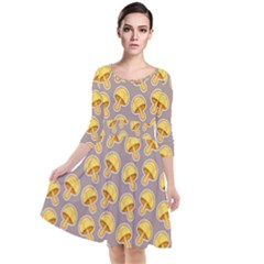 Yellow Mushroom Pattern Quarter Sleeve Waist Band Dress