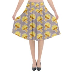 Yellow Mushroom Pattern Flared Midi Skirt
