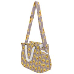 Yellow Mushroom Pattern Rope Handles Shoulder Strap Bag