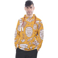 Vector Honey Element Doodle Seamless Pattern With Beehive Beeke Men s Pullover Hoodie