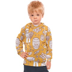 Vector Honey Element Doodle Seamless Pattern With Beehive Beeke Kids  Hooded Pullover