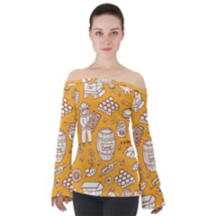 Vector Honey Element Doodle Seamless Pattern With Beehive Beeke Off Shoulder Long Sleeve Top