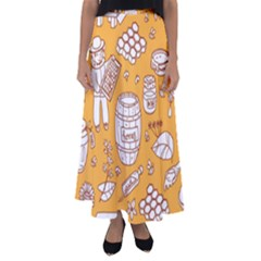 Vector Honey Element Doodle Seamless Pattern With Beehive Beeke Flared Maxi Skirt