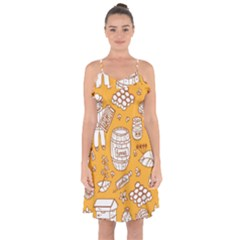 Vector Honey Element Doodle Seamless Pattern With Beehive Beeke Ruffle Detail Chiffon Dress