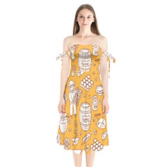 Vector Honey Element Doodle Seamless Pattern With Beehive Beeke Shoulder Tie Bardot Midi Dress