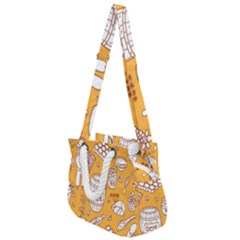 Vector Honey Element Doodle Seamless Pattern With Beehive Beeke Rope Handles Shoulder Strap Bag