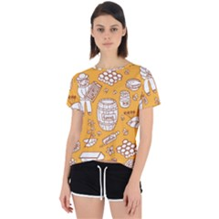 Vector Honey Element Doodle Seamless Pattern With Beehive Beeke Open Back Sport Tee