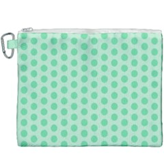 Polka Dots Mint Green, Pastel Colors, Retro, Vintage Pattern Canvas Cosmetic Bag (xxxl)