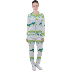 Cute Cartoon Alligator Kids Seamless Pattern With Green Nahd Drawn Crocodiles Casual Jacket And Pants Set by BangZart