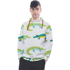 Cute Cartoon Alligator Kids Seamless Pattern With Green Nahd Drawn Crocodiles Men s Pullover Hoodie