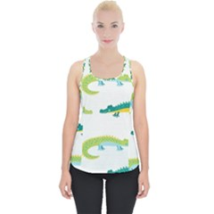 Cute Cartoon Alligator Kids Seamless Pattern With Green Nahd Drawn Crocodiles Piece Up Tank Top