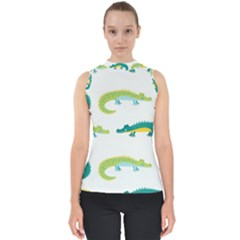 Cute Cartoon Alligator Kids Seamless Pattern With Green Nahd Drawn Crocodiles Mock Neck Shell Top