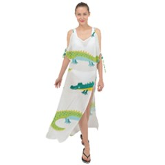 Cute Cartoon Alligator Kids Seamless Pattern With Green Nahd Drawn Crocodiles Maxi Chiffon Cover Up Dress by BangZart