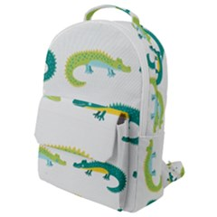 Cute Cartoon Alligator Kids Seamless Pattern With Green Nahd Drawn Crocodiles Flap Pocket Backpack (small) by BangZart