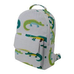 Cute Cartoon Alligator Kids Seamless Pattern With Green Nahd Drawn Crocodiles Flap Pocket Backpack (large) by BangZart