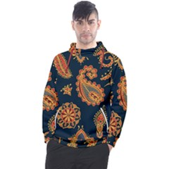 Bright Seamless Pattern With Paisley Mehndi Elements Hand Drawn Wallpaper With Floral Traditional  Men s Pullover Hoodie