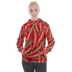 Seamless Chili Pepper Pattern Women s Hooded Pullover