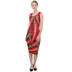 Seamless Chili Pepper Pattern Sleeveless Pencil Dress