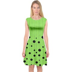 Bubbles At Strings Lemon Green And Black, Geometrical Pattern Capsleeve Midi Dress