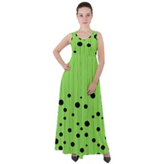 Bubbles At Strings Lemon Green And Black, Geometrical Pattern Empire Waist Velour Maxi Dress by Casemiro