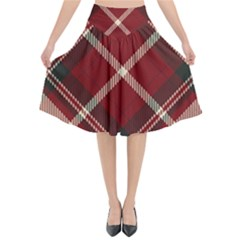 Tartan Scotland Seamless Plaid Pattern Vector Retro Background Fabric Vintage Check Color Square Flared Midi Skirt